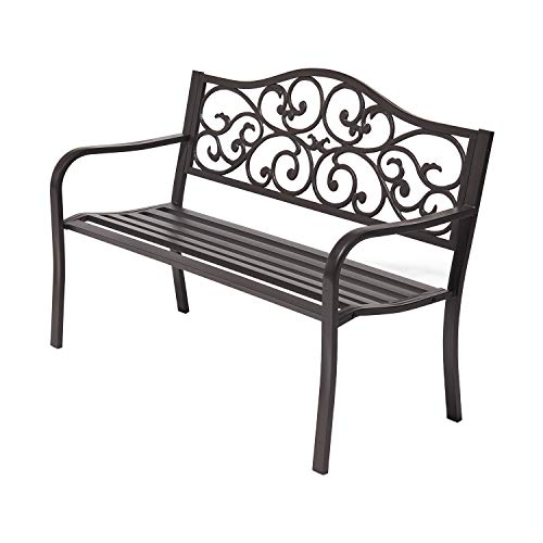 Laurel Canyon 50' Outdoor Patio Bench, Cast Iron 2-Person Metal Seating with Floral Design Backrest Furniture Chair for Porch Backyard Garden Pool Deck, Dark Brown