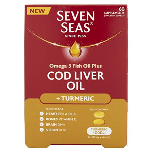 Seven Seas Cod Liver Oil Omega-3, Turmeric & Vitamin D 60 Tablets