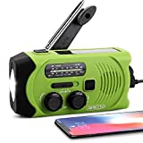 [Upgraded Version] Emergency Solar Hand Crank Portable Radio, Self Powered NOAA...