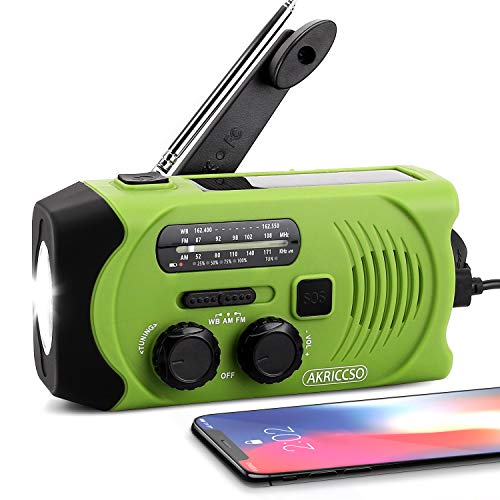 [Upgraded Version] Emergency Solar Hand Crank Portable Radio, Self Powered NOAA Weather Radio for Emergency with AM/FM, LED Flashlight, Reading Lamp, 2000mAh Power Bank and SOS Alarm