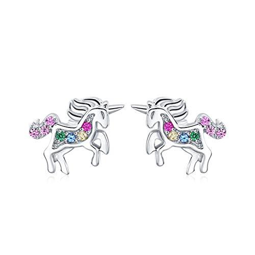 GXJ Llamativo Dream Unicorn Stud Pendientes, hipoalergénico 925 Plata esterlina, Lindo Regalo para Mujeres Chicas Esposa Amigos, Nuevo diseño para 2021 Exquisito