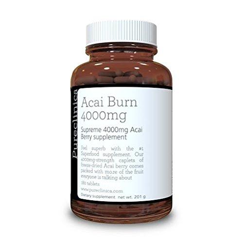 Pureclinica 3 Mesi Acai Bacca 4000mg Acai + 3 altamente potente clinicamente testato grasso burners.May aiutare a bruciare 5kg Grasso mese