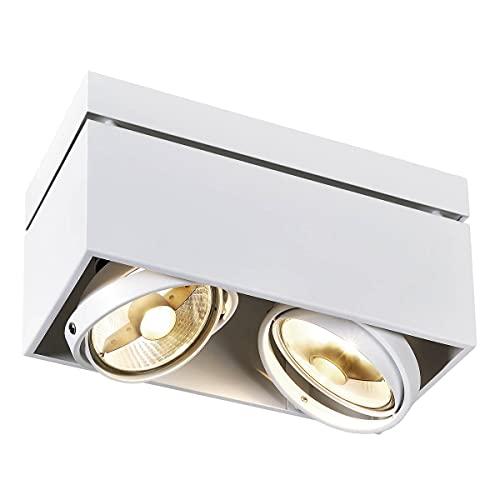 SLV LED Deckenlampe KARDAMOD für eine effektvolle Innenbeleuchtung   Dreh- und schwenkbare LED Deckenleuchte, Decken-Strahler, Spot Innenleuchte   Zweiflammig, Eckig, Weiß, GU10, max. 75W, E -A++