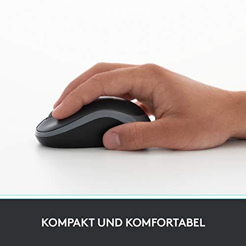 Logitech M185 Kabellose Maus, 2.4 GHz Verbindung via Nano-USB-Empfänger, 1000 DPI Optischer Sensor, 12-Monate Akkulaufzeit, Für Links- und Rechtshänder, PC/Mac – Rot - 2