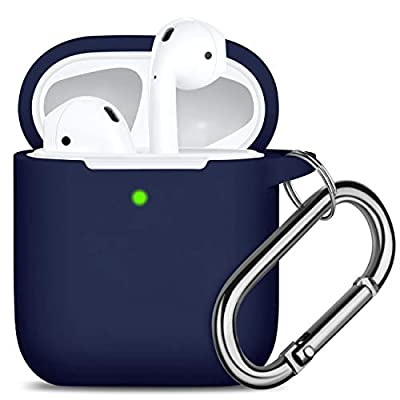 Oielai for Airpod Case Cover, [Front LED Visible ] Waterproof Protective Cute Silicone Cases Skin with Keychain Compatible with Apple Airpods 2 & 1, DarkBlue from Oielai