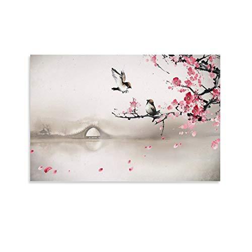 SHADIAO Cuadro tradicional chino de paisaje de flores y pájaros arquitectura clásica (6) lienzo artístico y arte de pared impresión artística moderna para dormitorio familiar de 30 x 45 cm