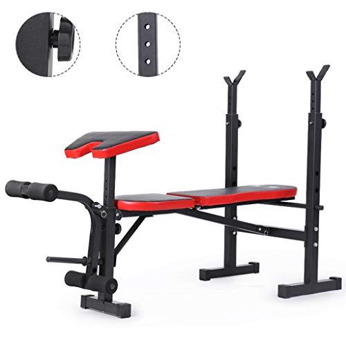 Aparato para sentadillas Press de banca Estante para barra de fitness para hombre Estante multifuncional Soporte ajustable Gimnasio casero en casa Plegable ( Color : Black , Size : 170*76*(90~115)cm )