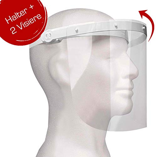 Enka Care Gesichtsschutz Visier aus Kunststoff - Augenschutz Spuck-Schutz - Premium Gesichtsschild - Face-Shield -1 x Halterungen mit je 2 Wechselfolien (1Halter-2 Visier)