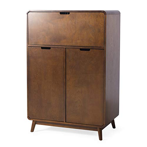 Rich Walnut Finish Wood Mid Century Modern Home Bar Cabinet Liquor Cabinet with Wine Racks