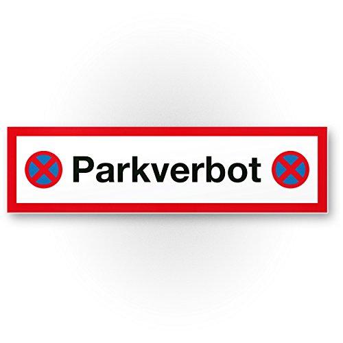 Parkverbot Kunststoff Schild (rot, 40 x 10cm), Hinweisschild aus Kunststoff Privatparkplatz - Verbotsschild, Parken verboten Kunststoff Schild - Parkplatz freihalten, kostenpflichtig abgeschleppt