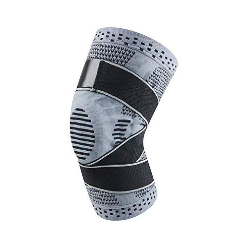 Z-GJM 1 Cojín de rodilla de compresión Soporte de silicona Resorte de rodilla Cojín de rodilla de compresión Elástico de rodilla,gris,M