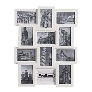 VonHaus 12 x Decorative Collage Picture Frames for Multiple 4x6 Photos - White Wooden Hanging Wall Photo Frame
