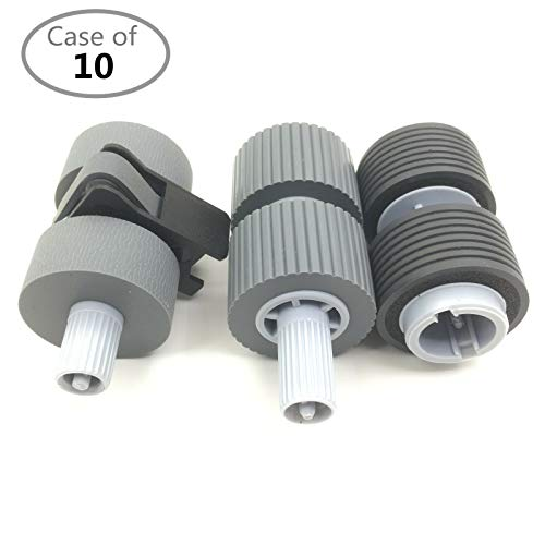 Case of 10 Packs,OKLILI PA03338-K011 PA03576-K010 PA03338-K010 Pick Roller + Brake Roller Pickup Roller Compatible with Fujitsu fi-6750 fi-6750S fi-6770 fi-6670 fi-5750C fi-5650C fi-5750 fi-5650