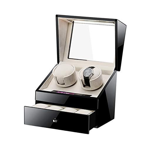 Jlxl Automatische Uhrenbeweger Box für 2 Uhren + 4 Speicher Touch Panel Bildschirm Netzteil und Batterie Betrieben Watch Winder Box Zubehör (Color : Black)