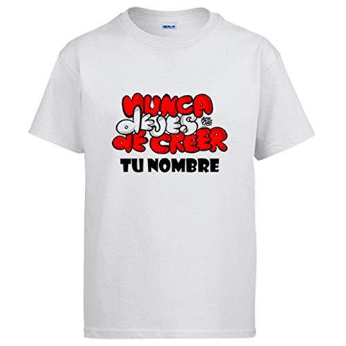 Camiseta Atlético de Madrid Letras Nunca Dejes de Creer Personalizable con Nombre - Blanco, 5-6 años