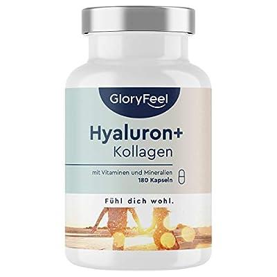 Hyaluronsäure Kollagen - 180 Kapseln - Haut & Haar Komplex mit Biotin, Vitamin C, Zink, Selen & Bambusextrakt - Laborgeprüft ohne Zusätze in Deutschland hergestellt
