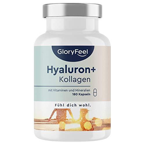Hyaluronsäure Kollagen - 180 Kapseln - Haut & Haar Komplex mit Biotin, Vitamin C, Zink, Selen & Bambusextrakt - Laborgeprüft ohne Zusätze hergestellt in Deutschland