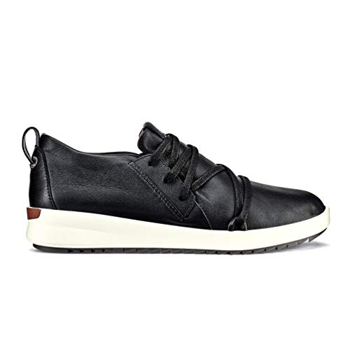 OluKai Malua Li Women's Waterproof Leather Sneakers Black/Off White - 8.5