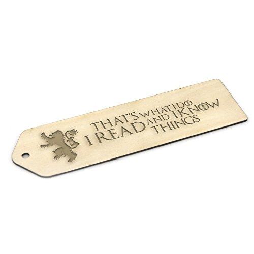 Lesezeichen aus Holz, inspiriert von Game of Thrones, Geschenk mit Gravur