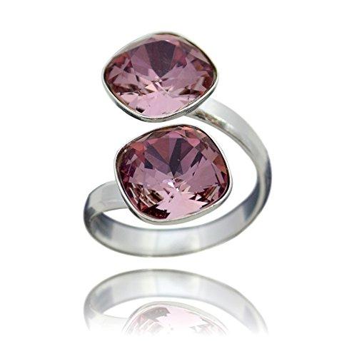 Crystals & Stones Swarovski *DOPPELT SQUARE* *VIELE FARBEN* 925 Silber Ring Swarovski Elements - 925 Sterling Silber Damen Ring Größe Verstellbar (Antique Pink)