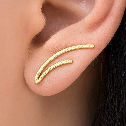 Minimalistische Ohr Manschetten Ohrringe aus sterling silber, handgemachter Schmuck von Emmanuela, schrullige Ohrringe, Gold Ohr Kletterer, hypoallergene Ohrringe, earcuff, ear cuff