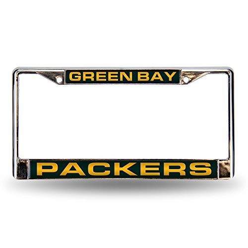 NFL Green Bay Packers - Green Laser Cut Inlaid Standard Chrome License Plate Frame