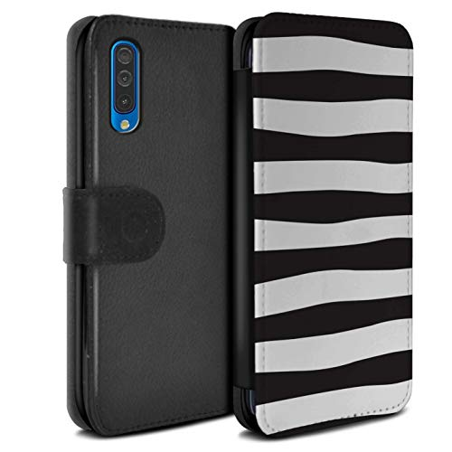 eSwish PU Leather Wallet Flip Case/Cover for Samsung Galaxy A50 2019 / Zebra Hoops Design/Scandinavian Fashion Collection