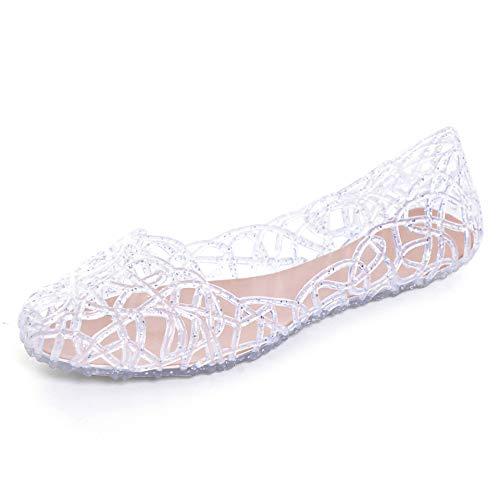 Stunner Women's Beach Jelly Shoes Slip On Crystal Summer Soft Hollow Ballet Flats Silver 40