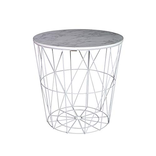 Melody Maison White Metal Marble Effect Topped Side Table