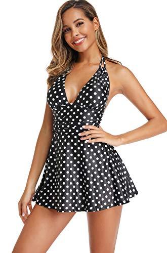 Avacoo Damen Badekleid Einteiler Punkte Badeanzug Neckholder Schwimmen Kleid Polka Dots XL