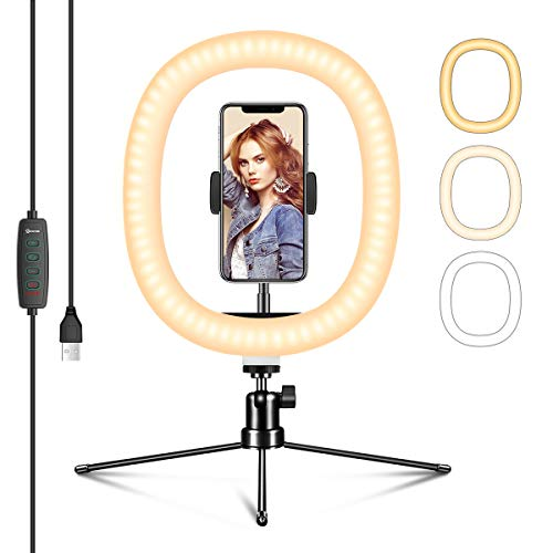 EIVOTOR 10 Zoll Ringlicht mit Stativ LED Selfie Ringleuchte Dimmbar 3 Lichtfarben 10 Helligkeitsstufen Tischringlicht mit Handyhalter Live Licht für Tiktok Video-Chat YouTube Volg Live-Stream Makeup