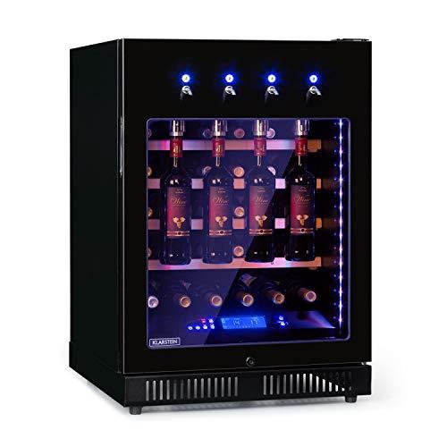 KLARSTEIN First Class 36 Pro - Dispenser e Frigo per Vino, Volume: 36 Bottiglie/135 Litri, 4 Dispenser, Raffreddamento a Compressione, Single Zone, Temperatura: 5-22 °C, Controllo Touch, Nero