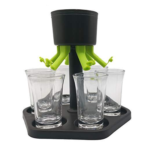 Splitshot - Dispensador de chupitos con 6 vasos de plástico - Dispensador de chupitos perfecto como gadget de fiesta o como regalo para tu fiesta - Distribuidor de chupitos para fiestas y demás