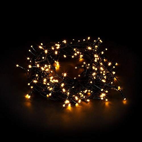 HomeZone 200 Warm White LED Christmas Battery Operated Chasing Lights with Timer Function 8 Lighting Modes Xmas Hanging Christmas Tree String Fairy Lights Festive Indoor Outdoor (200 Warm White)