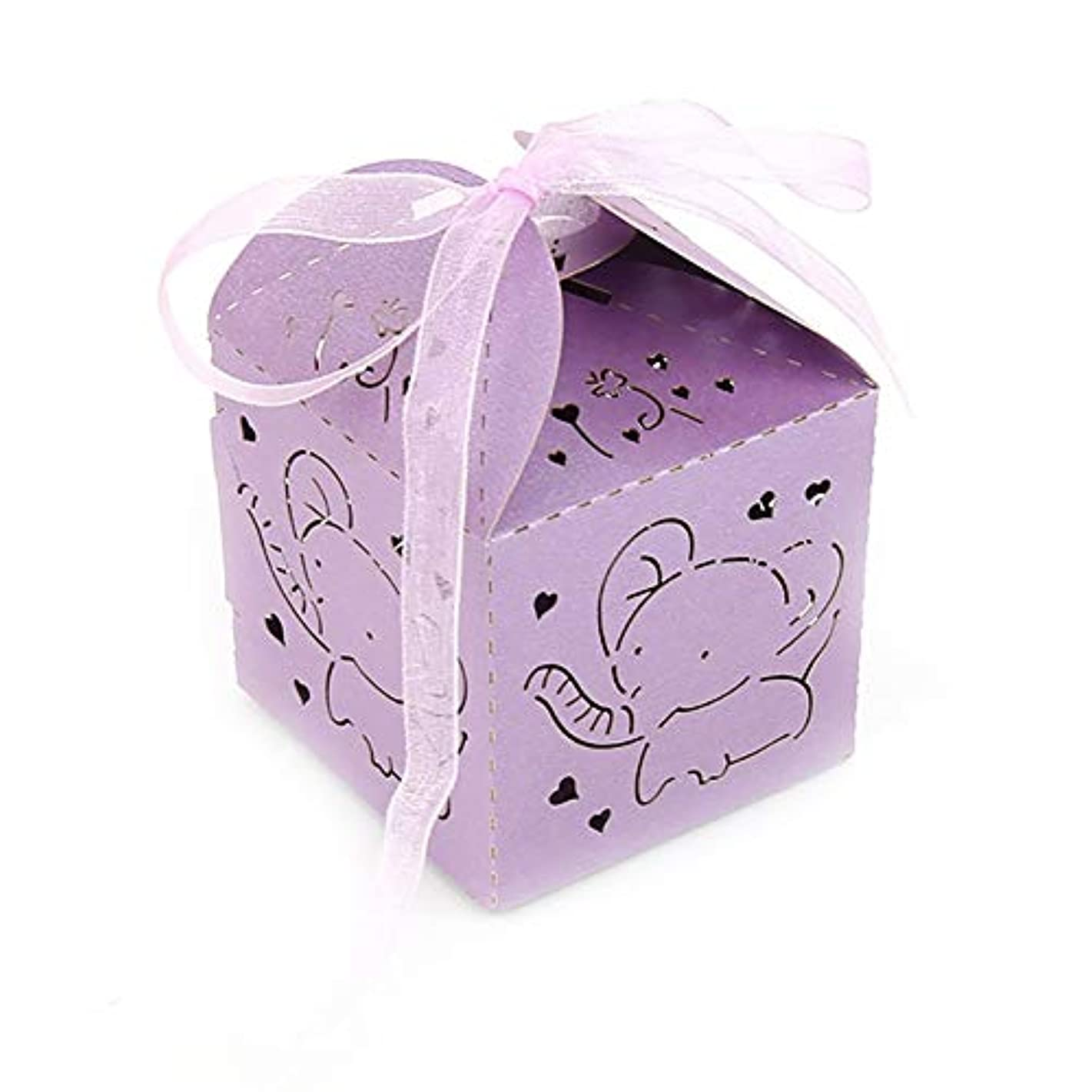 50 Pack Purple Elephant Baby Shower Favor Laser Cut Paper Party Treat Box Girl First 1st Birthday Christening Decoration Holiday Gift Wrapping Supplies