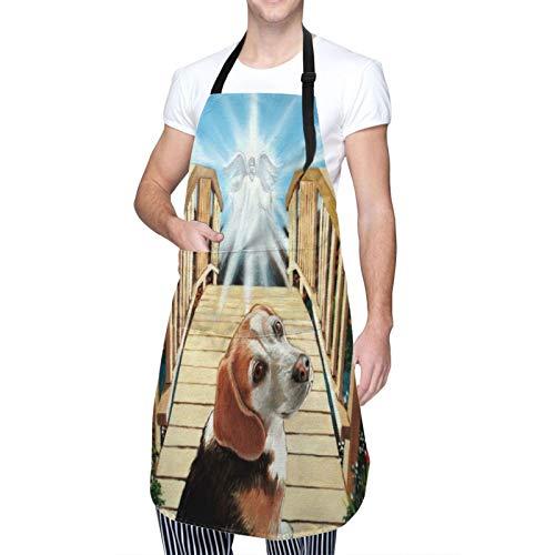 MAYBELOST Ajustable Colgante de Cuello Personalizado Delantal Impermeable,Perro Beagle cruzando el puente de la otra vida,Babero de Cocina Vestido para Hombres Mujeres con 2 Bolsillos Centrales