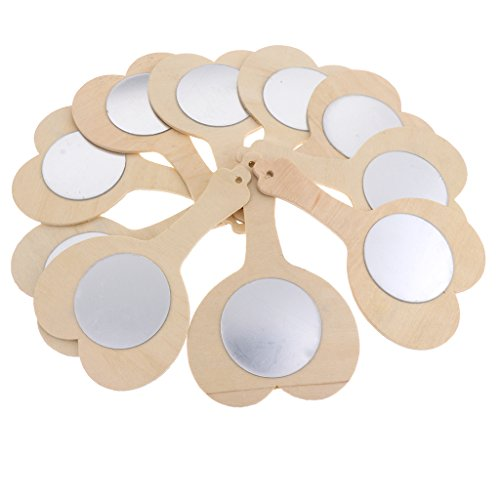MonkeyJack 10 Pieces Blank Unfinished Wooden Handheld Mirror For Kids DIY Wood Crafts Toy - Heart