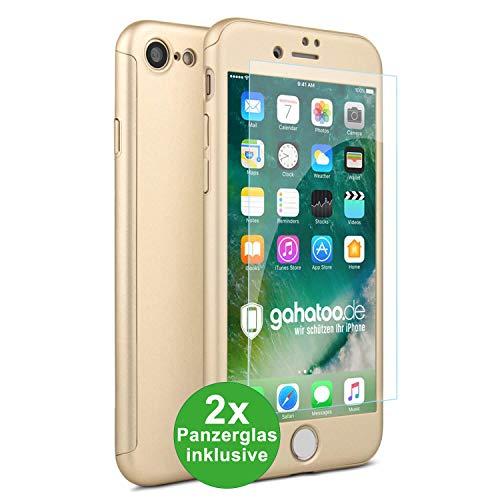 CASYLT iPhone 7 und iPhone 8 Hülle [inkl. 2X Panzerglas] 360 Grad Fullbody Premium Handy-Hülle Gold kompatibel für iPhone 7/8 Komplettschutz Hülle