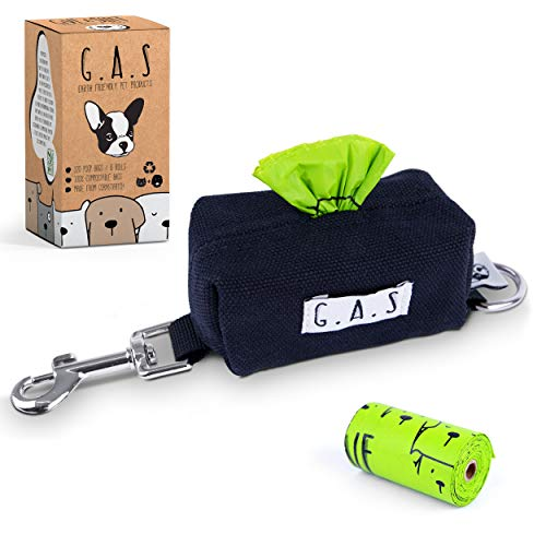 G.A.S Dog Poop Bag Dispenser Holder – 10% to Charity – Earth Friendly, Plastic Free Cotton Canvas Dog Poop Bag Holder with Secure Clip and D-Ring + 15 Free Cornstarch Poop Bags