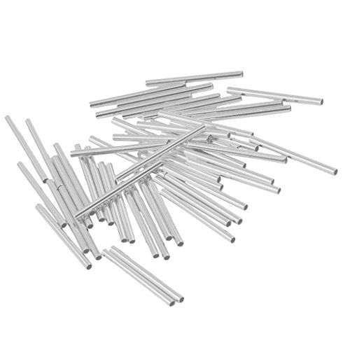 Sharplace 50pcs DIY Metallperle Schlauch Tube Form Verzierung Zubehör für Halskette, Armband & Ohrringe - Silber Weiß