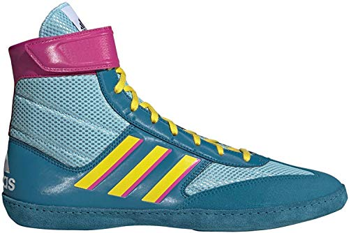 adidas Men's Combat Speed Wrestling Shoe, Light Aqua/Yellow/Teal, 10