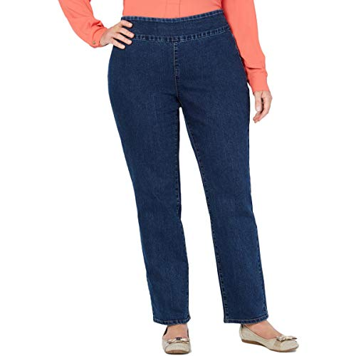 Charter Club Womens Plus Denim Waist Smoothing Ankle Jeans Blue 24W