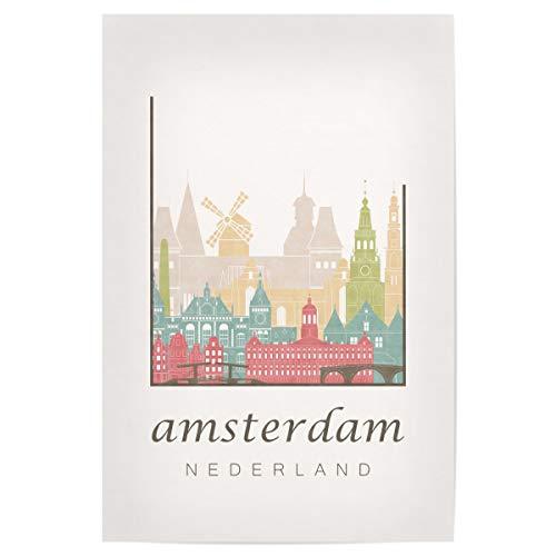 artboxONE Poster 30x20 cm Städte/Amsterdam Amsterdam Pastel Skyline - Bild Amsterdam Netherlands Holland