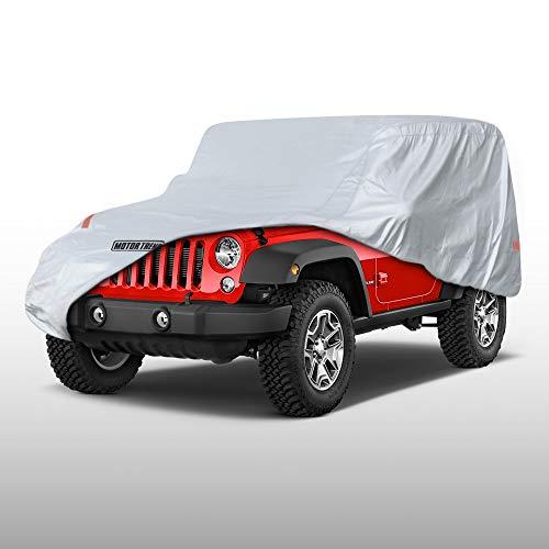 Motor Trend All Weather Custom Fit Cover for 2 Door Jeep Wrangler (1987-2019 JK JL CJ YJ TJ) - Waterproof Windproof (OV-740_Wrangler)