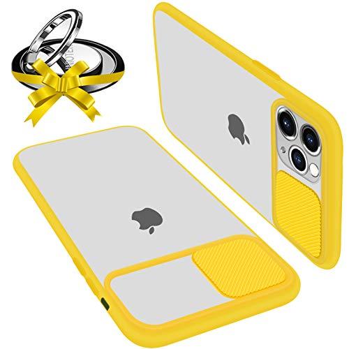 Coque Avec Protection Caméra Glissante Compatible Avec iPhone 11 Pro Coque Protecteur d'Objectif Antichoc Translucide Avec Bague Support Magnetique (Compatible Support de Voiture Magnétique) Jaune