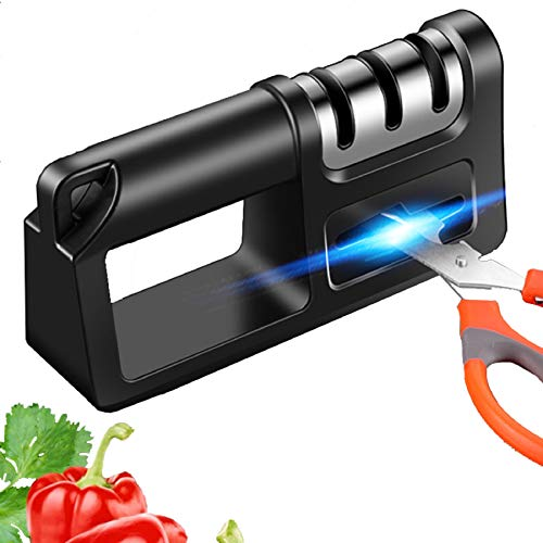 EXGOX Knife Sharpener, 4 in 1Kitchen Knife Sharpening Manual Knife...