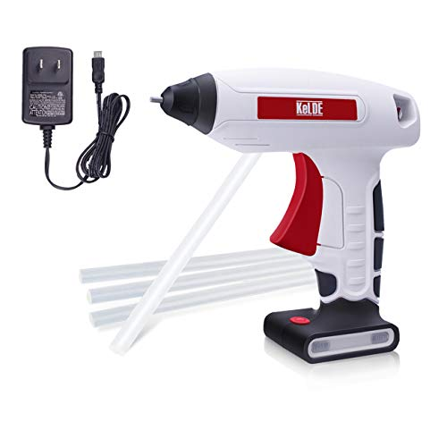 KeLDE Cordless Fine Tip Hot Glue Gun Kit, 30 Seconds Heating Time 3.7V Li-ion 2000mAh Battery Rechargeable Glue Gun, with Cable and Plug