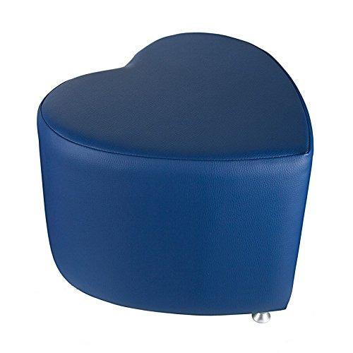 Kaikoon Pouf – Pouf Cube Bleu Forme de cœur avec Patins en Aluminium