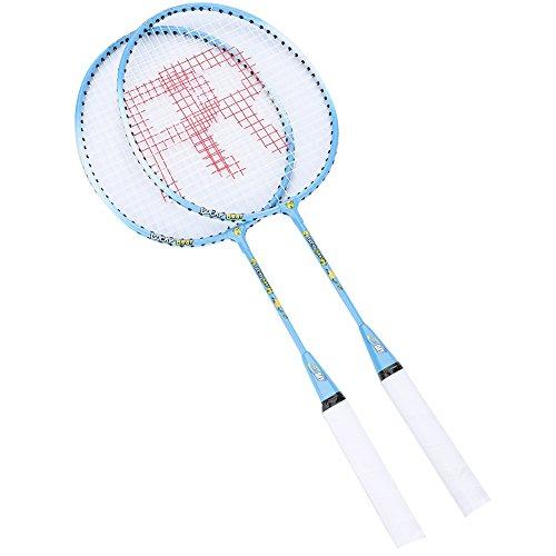 Josopa Raqueta de bádminton para entrenamiento infantil, 2 raquetas de bádminton de dibujos animados, ligeras y resistentes, juego de raquetas de bádminton profesional, bolsa de transporte
