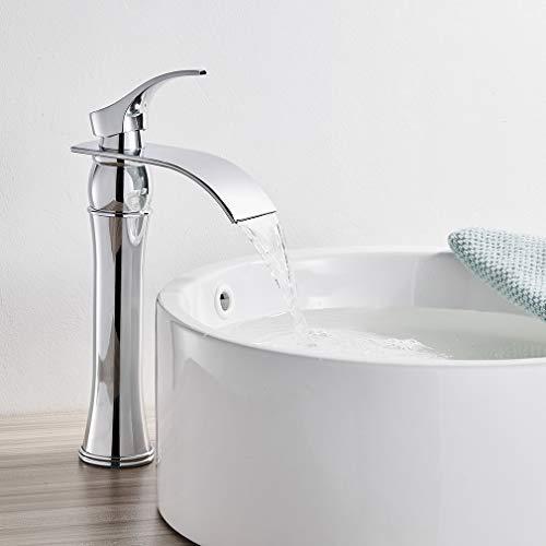 Auralum Wasserhahn Bad Armatur Waschtischarmatur Mischbatterie Chrom Waschbeckenarmatur mit Hoher Wasserfall Auslauf für Badezimmer Waschbecken
